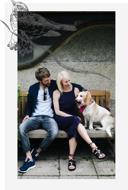Cotswolds wedding photographer Jonny Barratt with wife and dog