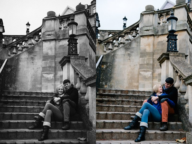 Weddings in Bath couple sitting on steps