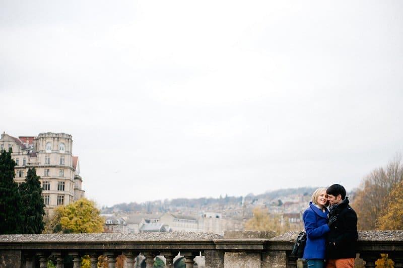 Weddings in Bath couple hugging on bridge