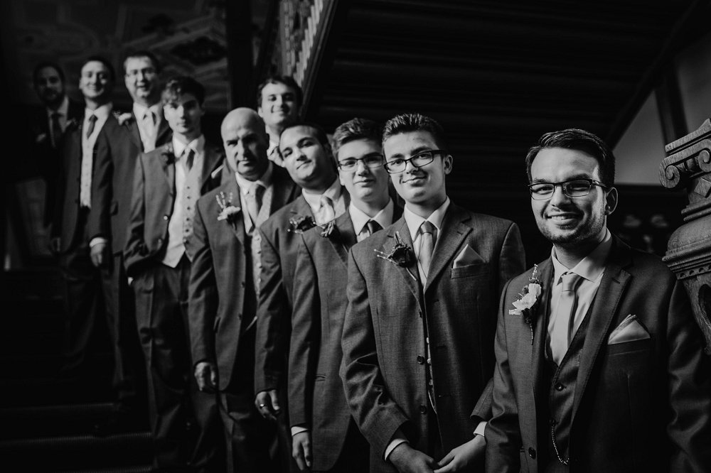 Eynsham Manor groomsmen on stairs
