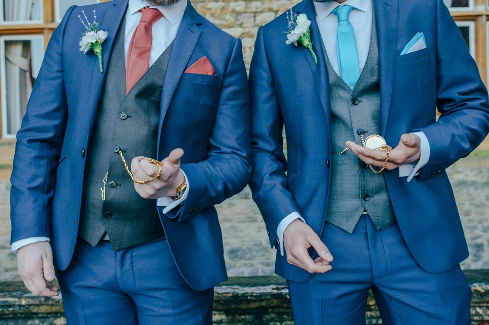 Eynsham Manor groom and bestman with pocketwatches