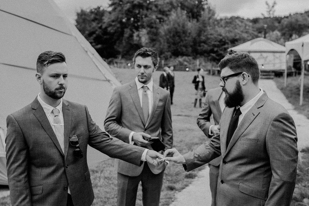 Wyldwoods groomsmen cigarette break photo