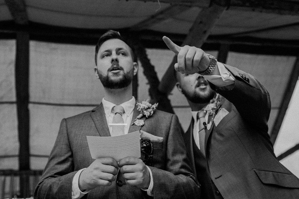 Wyldwoods groom and best man preparing
