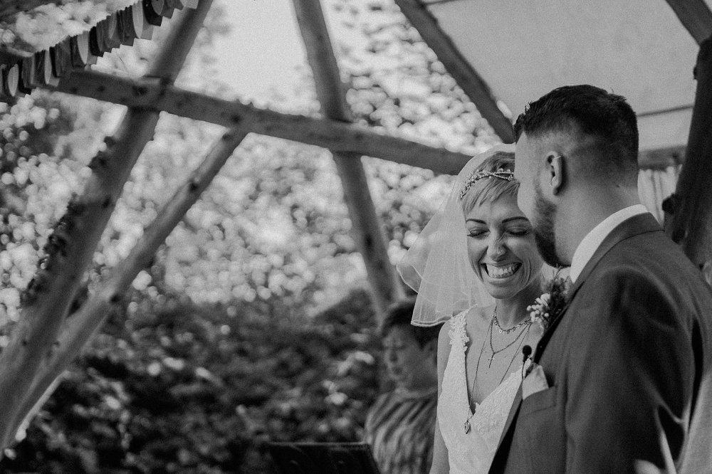 Wyldwoods bride looking happy