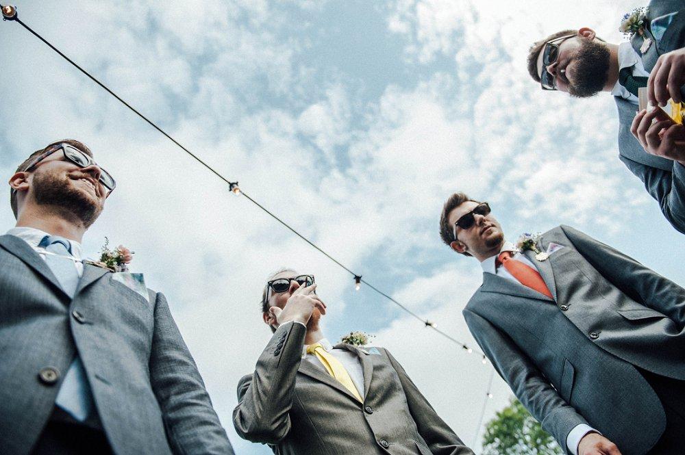 Wyldwoods wedding candid smaoking group photo