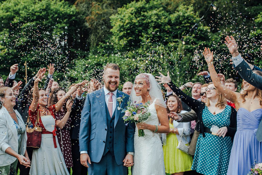 Wyldwoods wedding colourful confetti photo