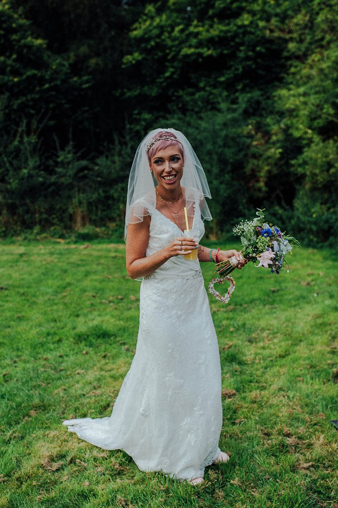 Wyldwoods bride with pink hair photo