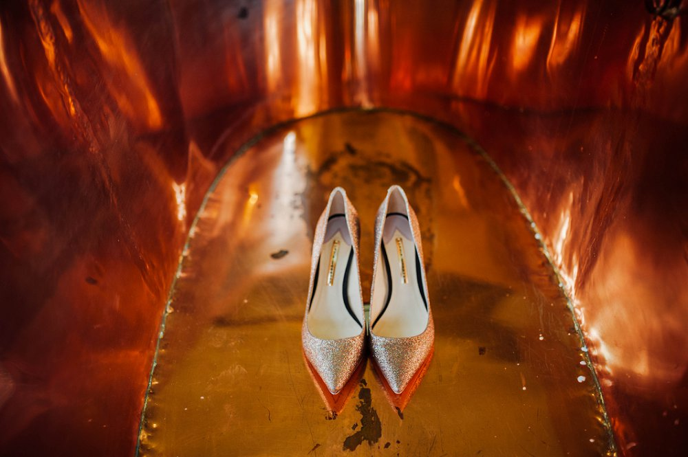 Maunsel House wedding shoes in copper bath photo
