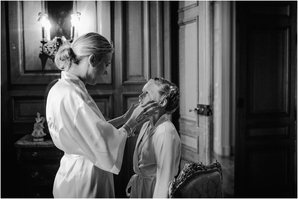 French Chateau Wedding Bride and Bridesmaid Photo