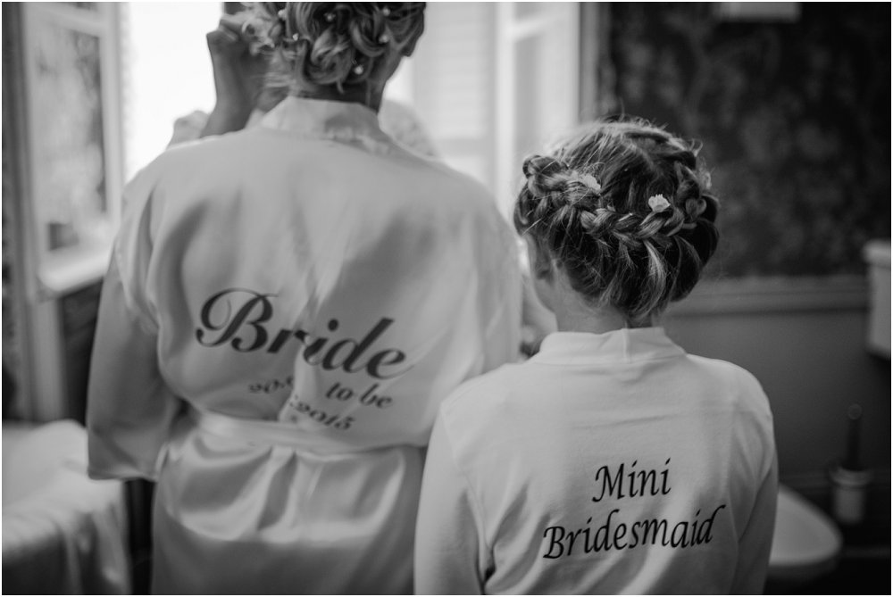 French Chateau Wedding bride and mini bridesmaid