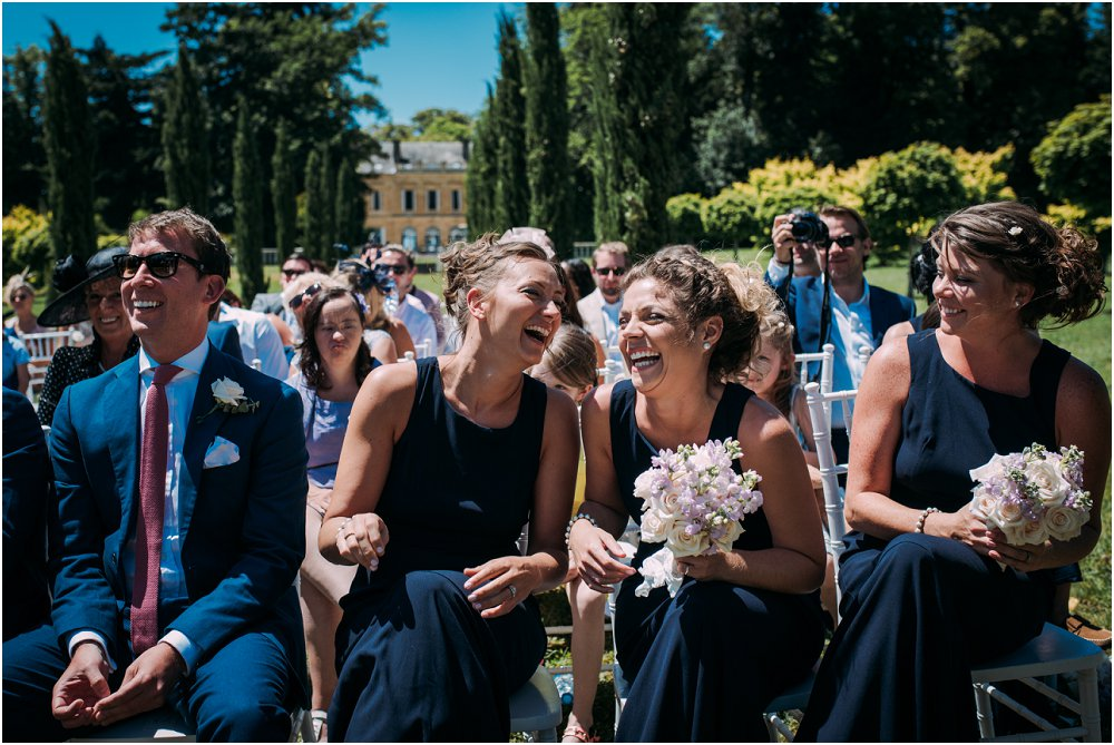 French Chateau Wedding laughing bridesmaids