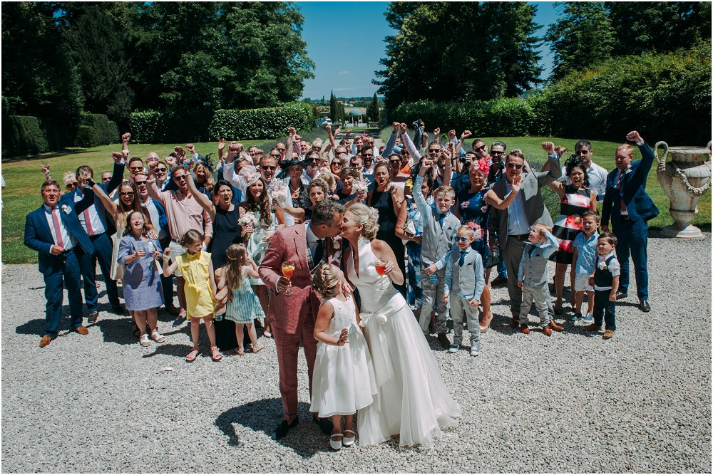 French Chateau Wedding cheering the bride and groom photo