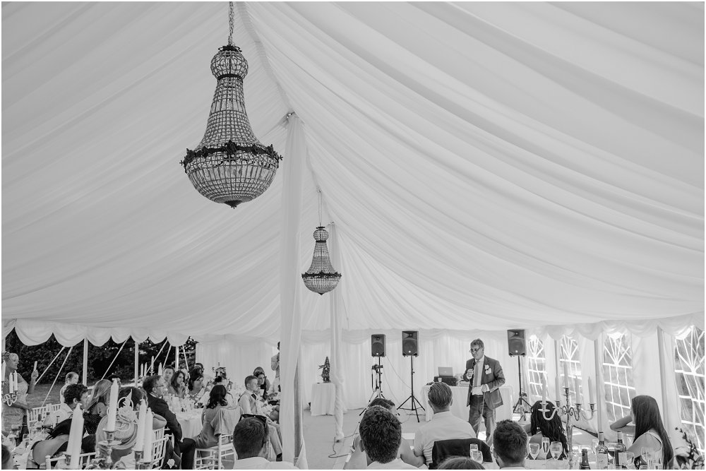 French Chateau Wedding speeches in marquee photo