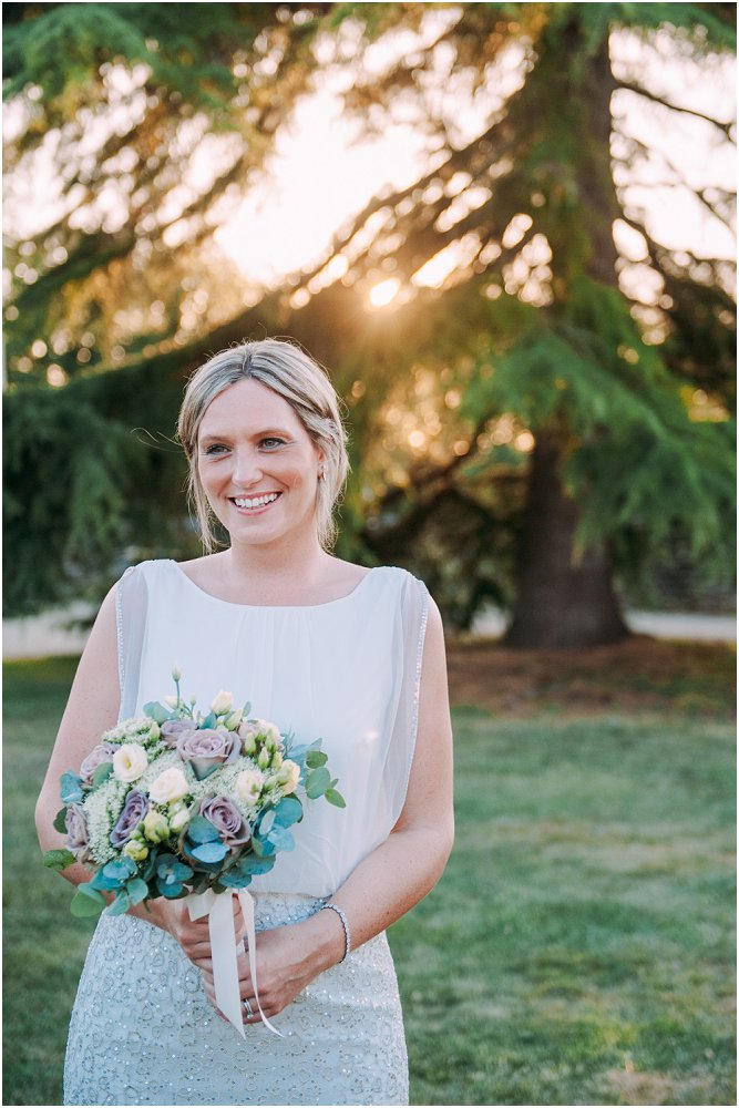Logis Puygaty bride in golden sunlight