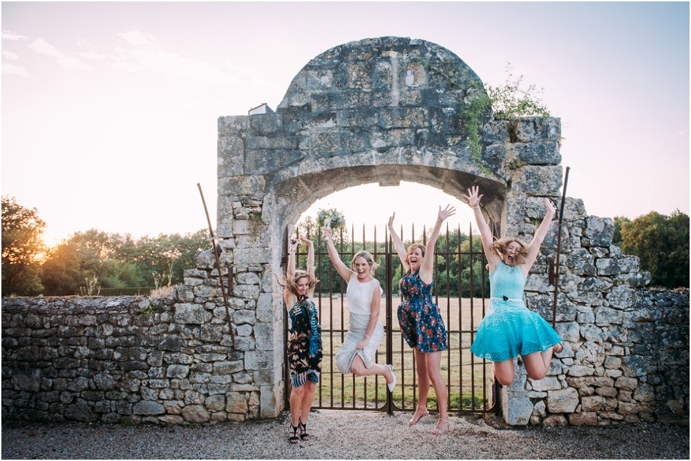 Logis Puygaty girls jumping with joy photo