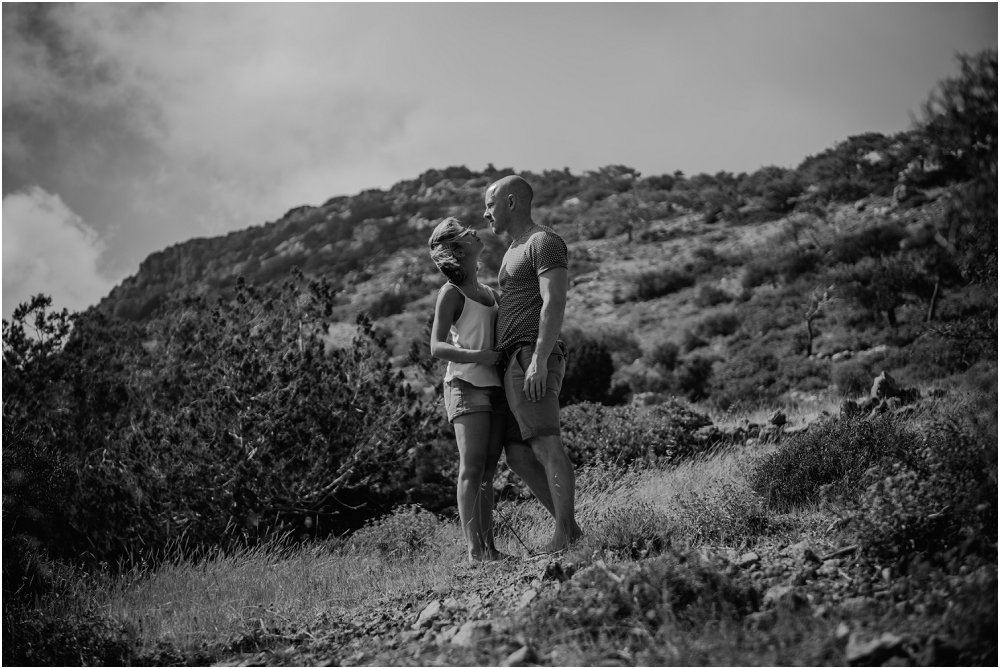 Cyprus Wedding Photography monochrome couple in front of mountain