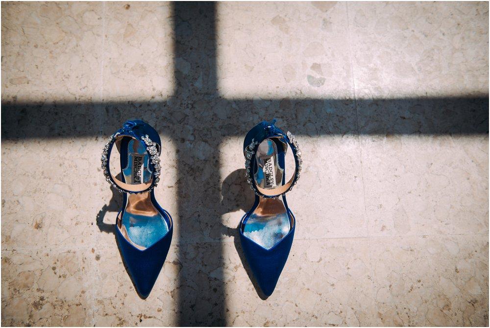 Anassa Hotel Cyprus blue wedding shoes detail