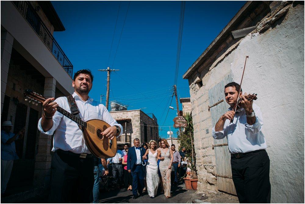 Wedding band serenading bride to Anassa Hotel Cyprus