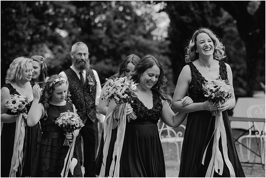 Chateau de Cazenac bridesmaids arrive ceremony wedding photo