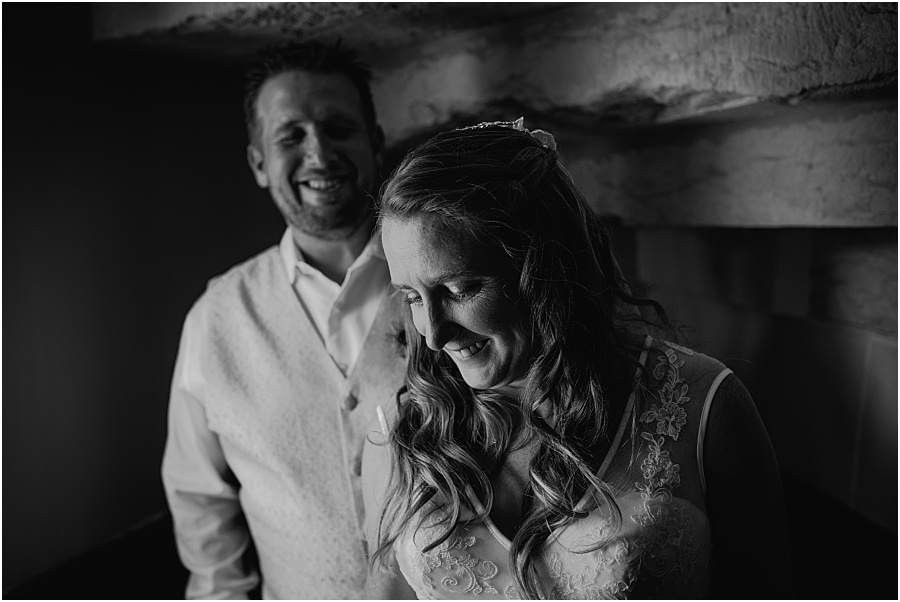 Chateau de Cazenac bride and groom inside portrait wedding photo