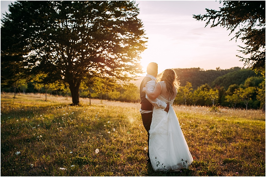 Chateau de Cazenac bride and groom at sunset wedding photo