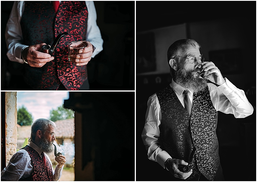 Chateau de Cazenac whiskey and pipe man wedding photo