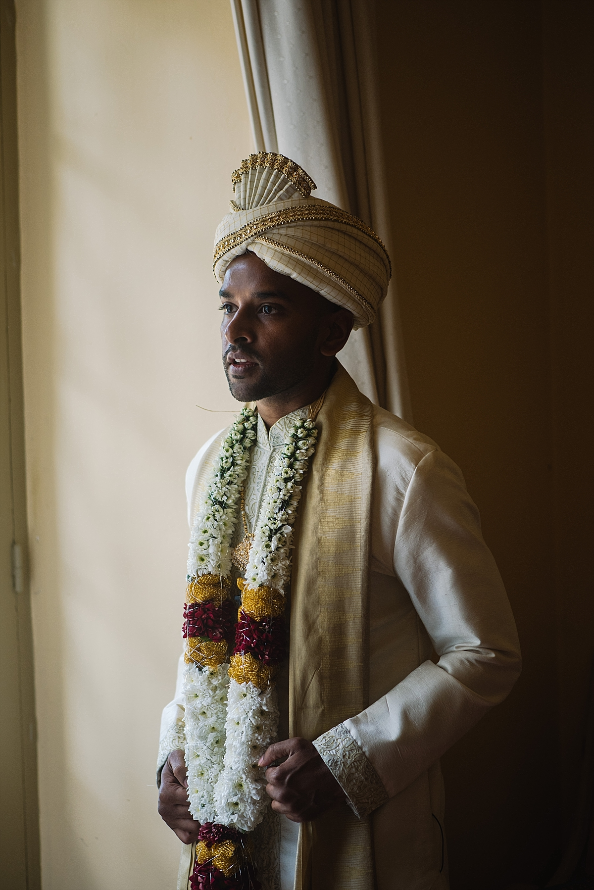 Indian Wedding Photography -groom in traditional attire-Chateau De Malliac