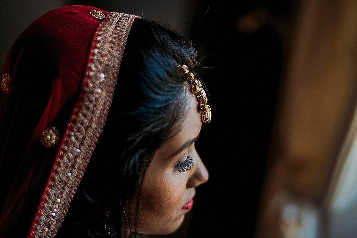 Indian Wedding Photography -bride's headdress-Chateau De Malliac