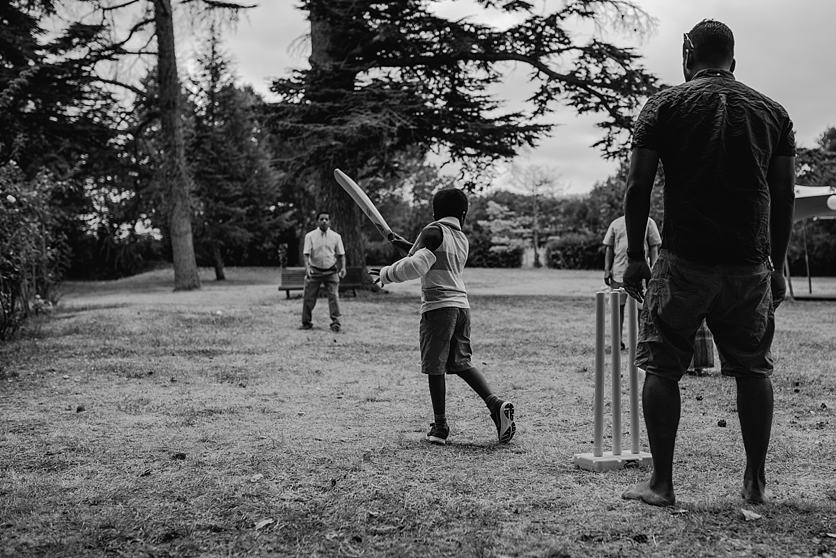 Indian Wedding Photography -a game of cricket -Chateau De Malliac