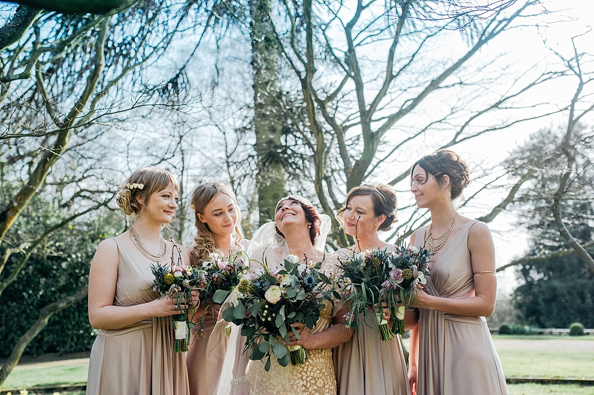 Bride and bridesmaids portrait Hampton Manor Wedding Photography