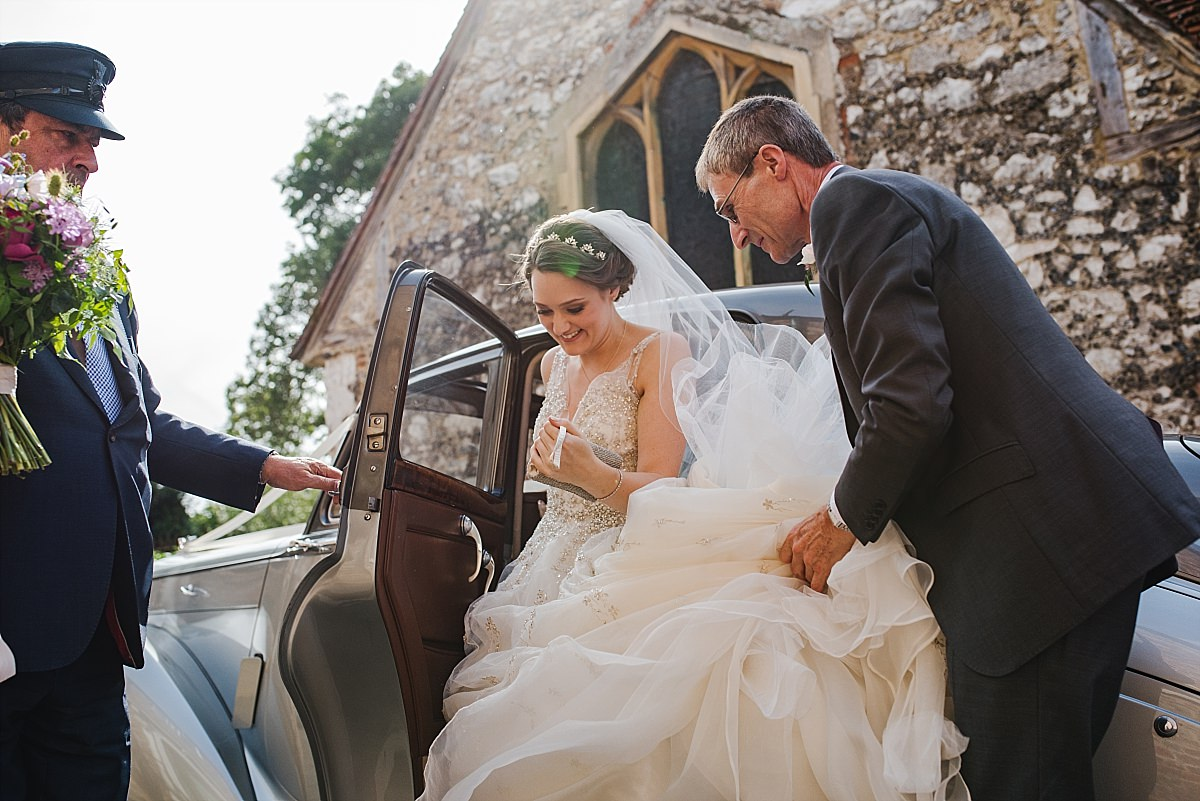 Bride's arrival at Dorney Court