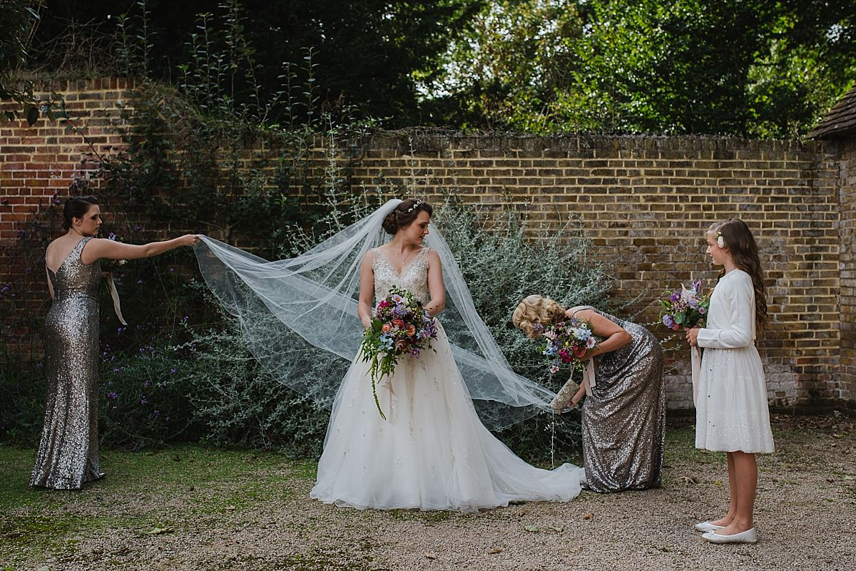 Bride with bridesmaids at Dorney Court