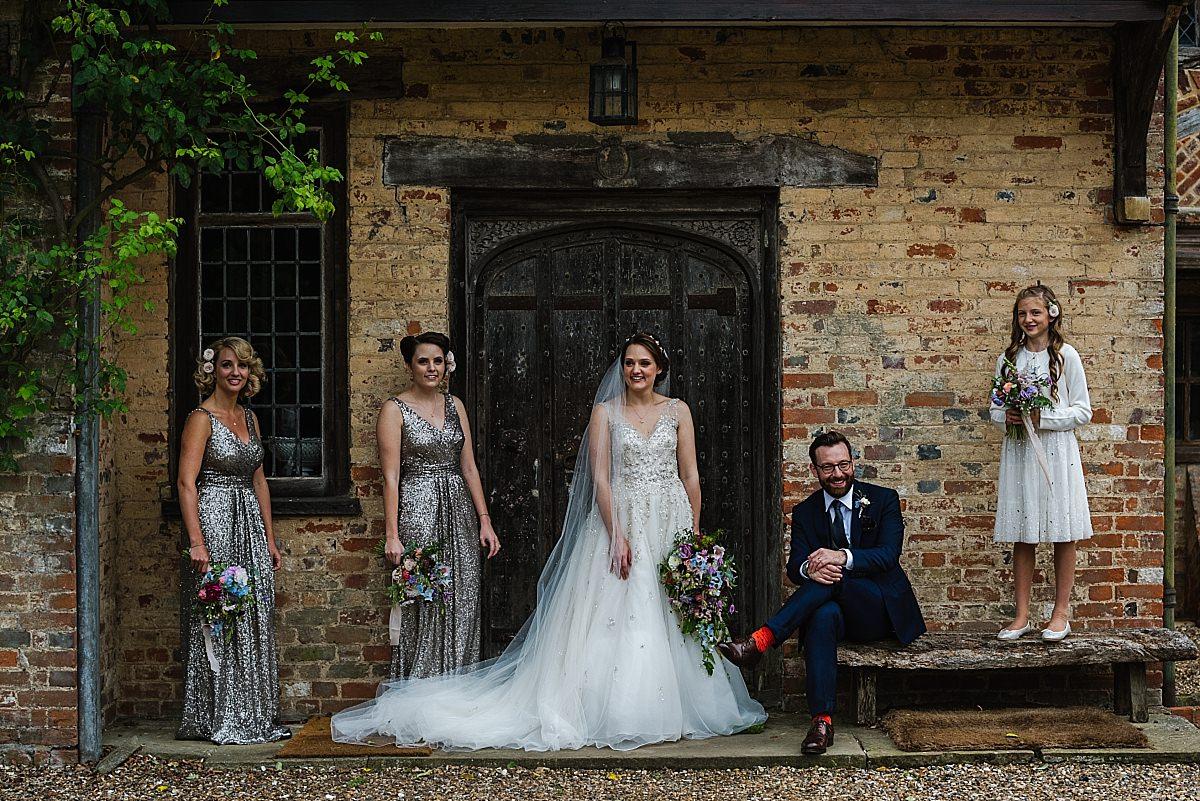 Bridal party portrait at Dorney Court Wedding