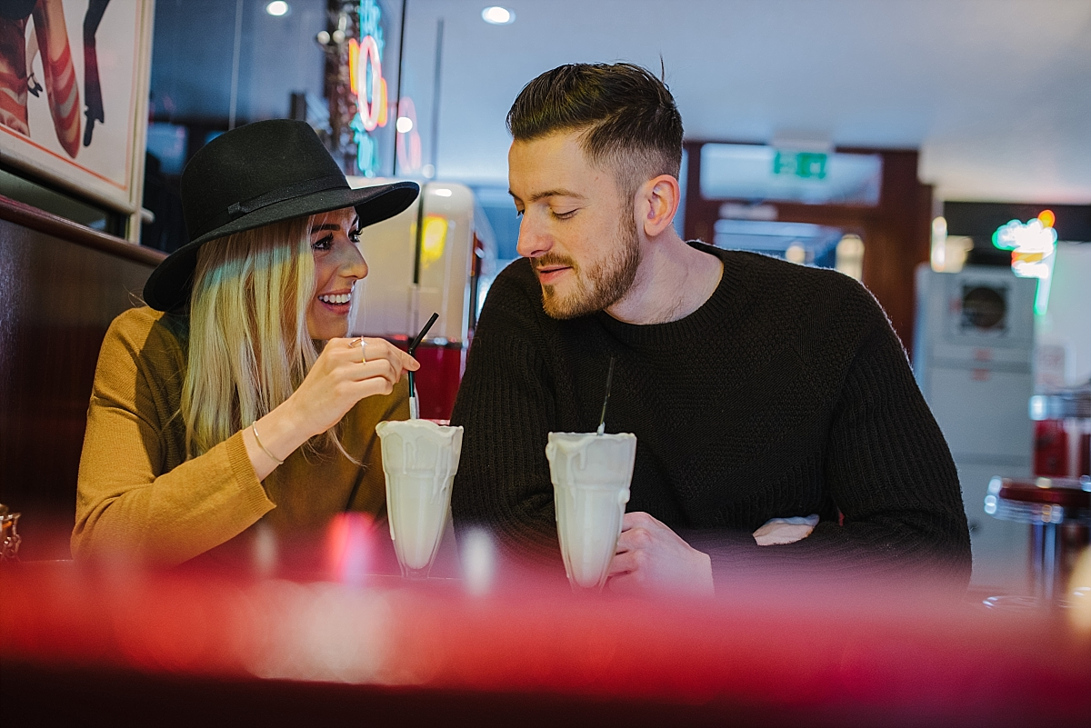 Cheltenham engagement shoot at Smokey Joe's vintage cafe