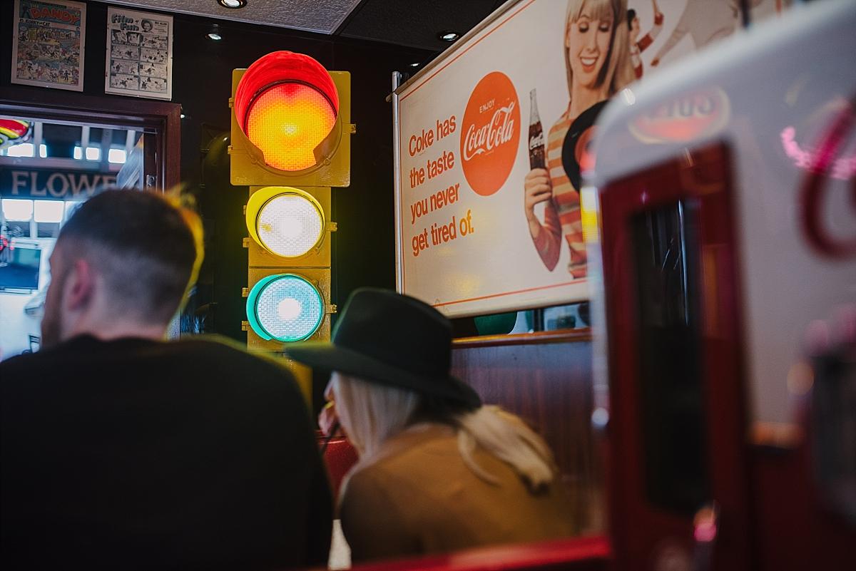 Cheltenham engagement shoot at Smokey Joe's vintage cafe