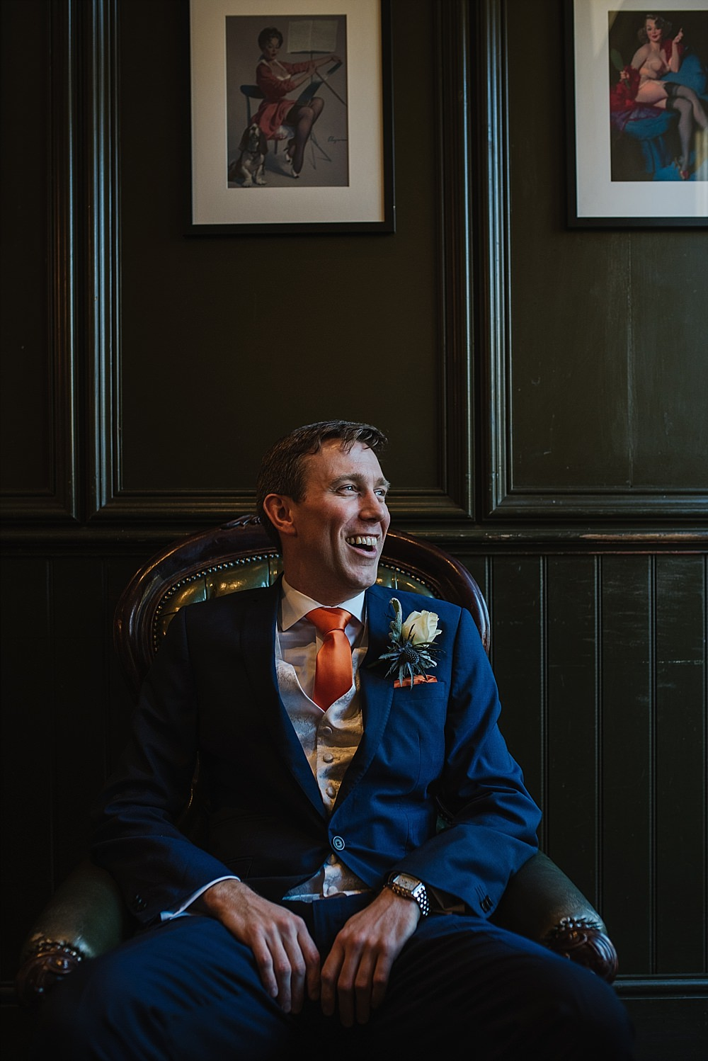 Islington Town Hall Wedding groom portrait