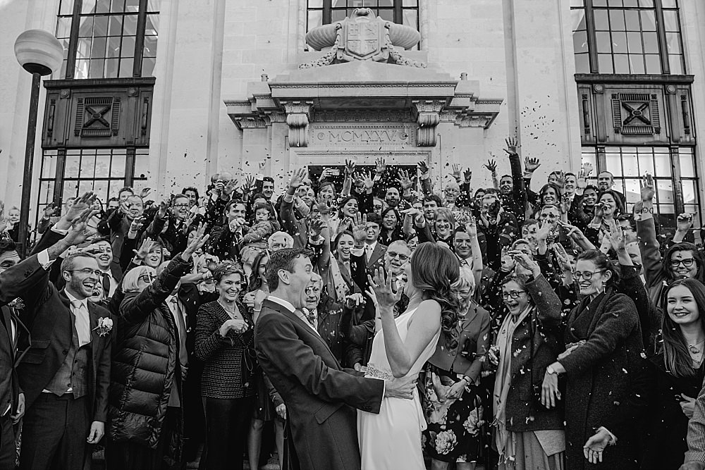 Islington Town Hall Wedding bride and groom confetti