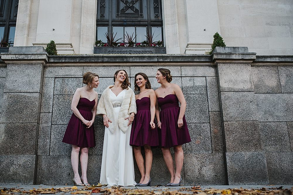 Islington Town Hall Wedding bride with bridesmaids