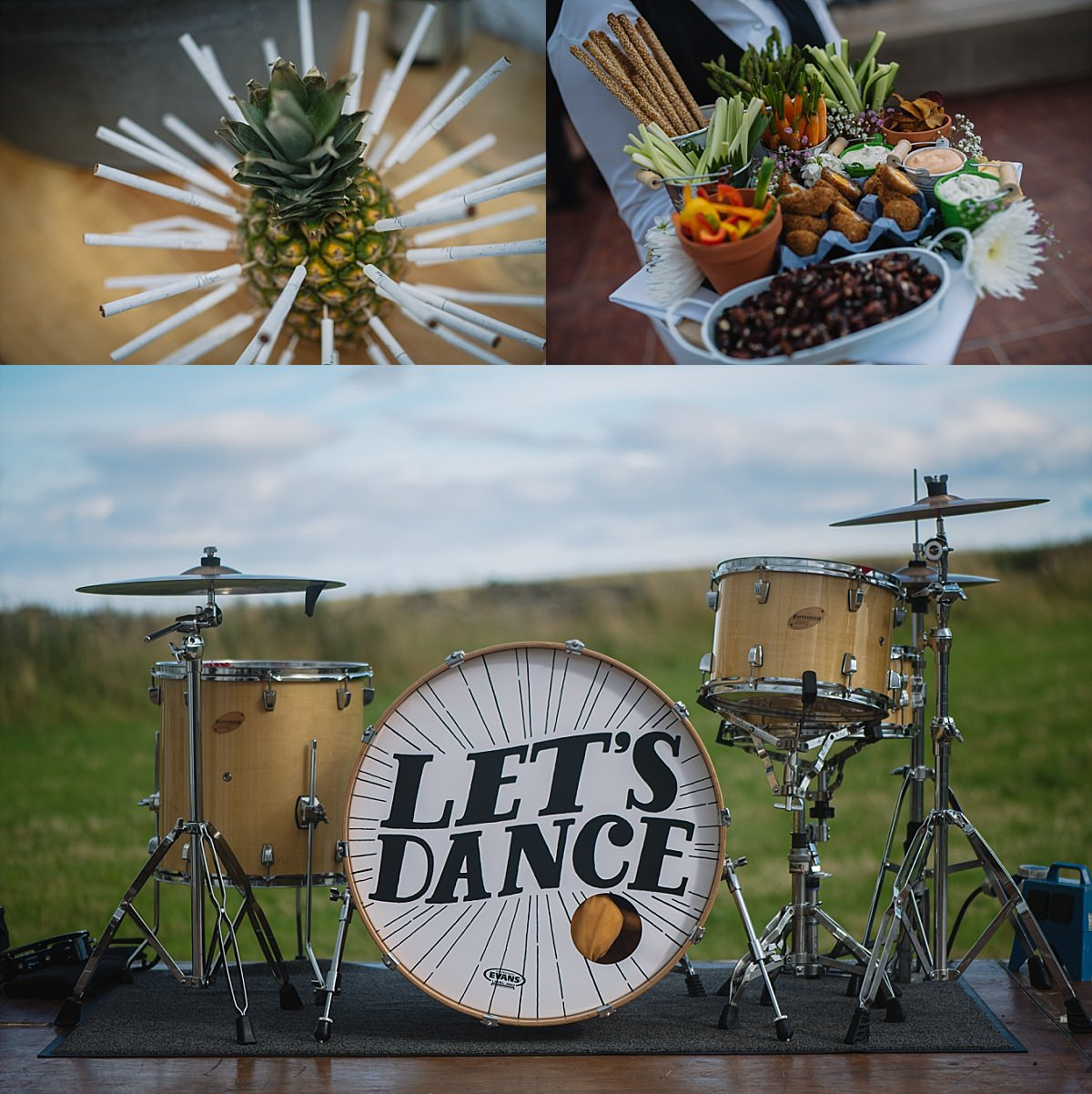 Drum kit at High Paradise Farm wedding photo