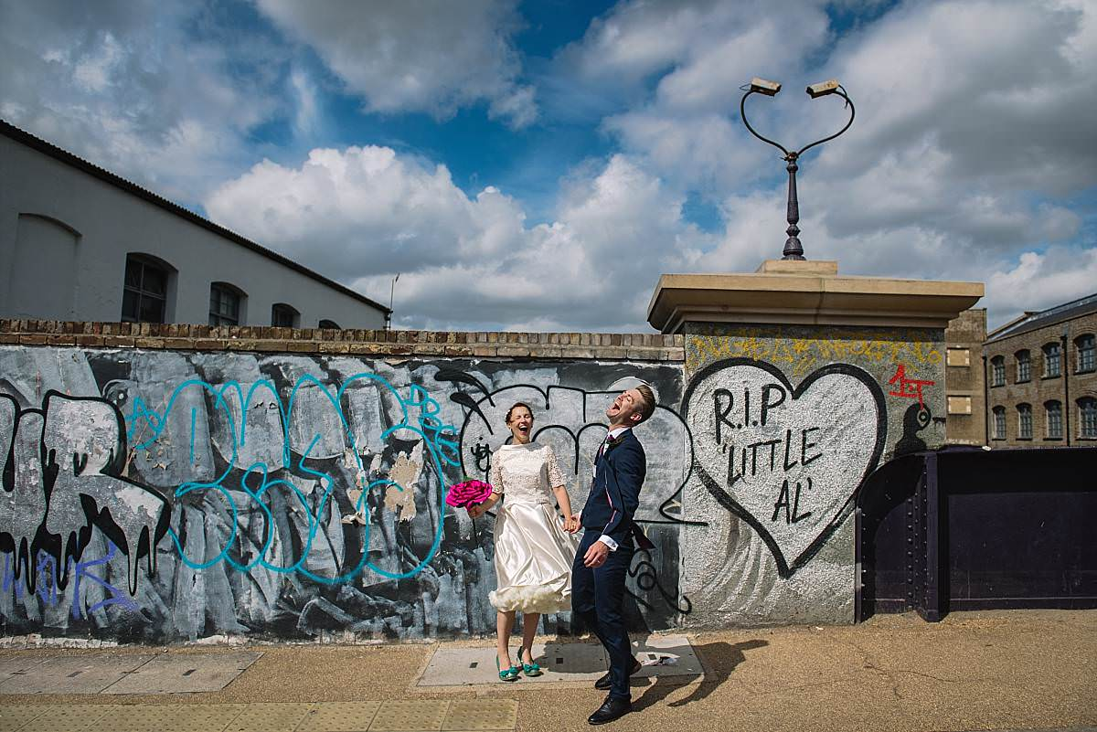 Stour Space wedding couple on Hackney bridge