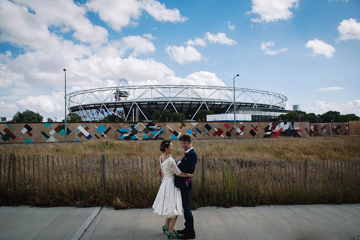 Stour Space wedding couple near football stadium