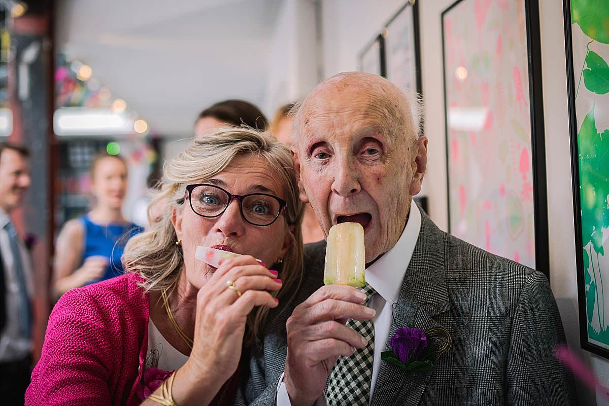 Stour Space wedding guests enjoying ice lollies