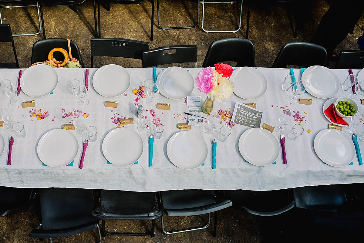 Stour Space wedding table setting