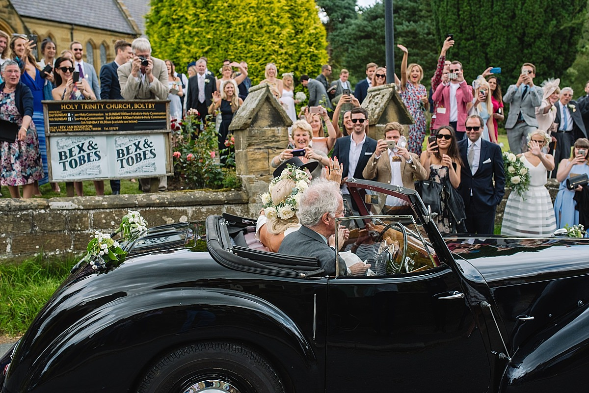 Leaving the ceremony in style in Yorkshire