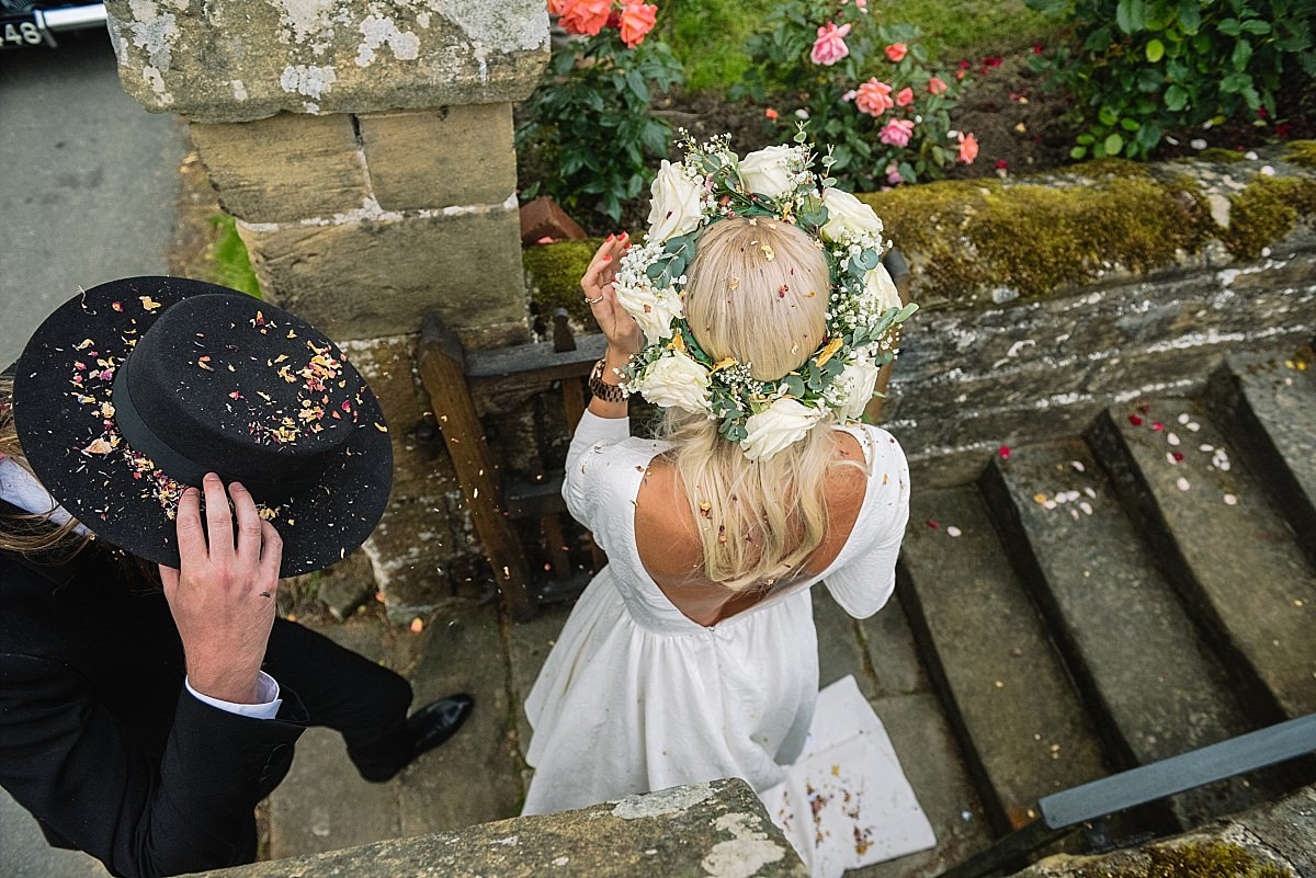 Confetti on the bride and grooms heads at Yorkshire wedding