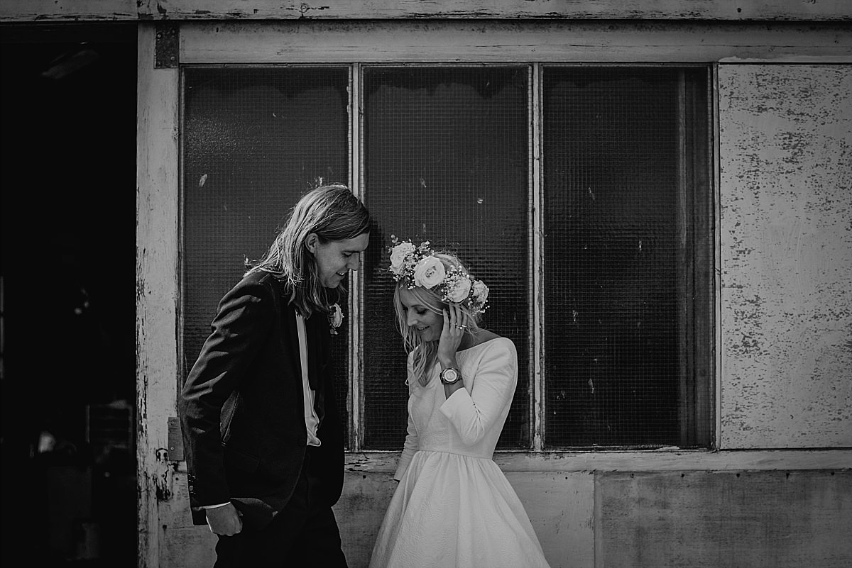 Groom with long hair at High Paradise Farm wedding