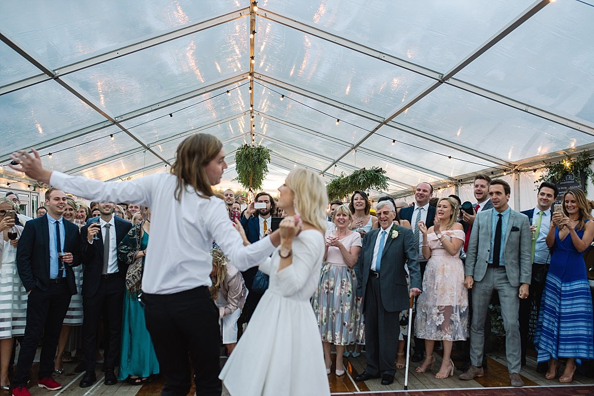 Dancing in marquee at High Paradise Farm wedding