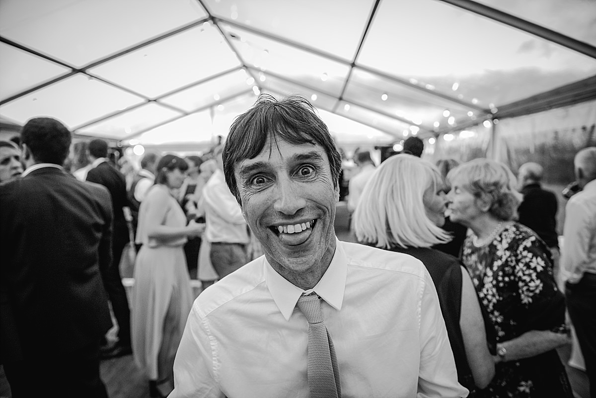 Guest pulling a face at High Paradise Farm wedding