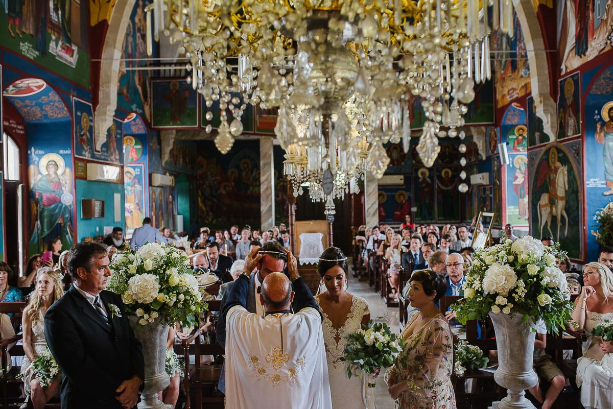Orthodox Greek ceremony in Agios Minas Church in Neo Chorio Cyprus