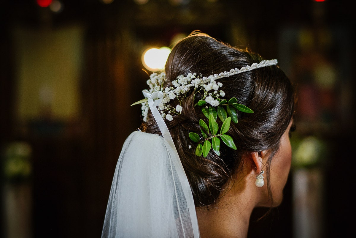 Traditional Greek headdress details worn by bride